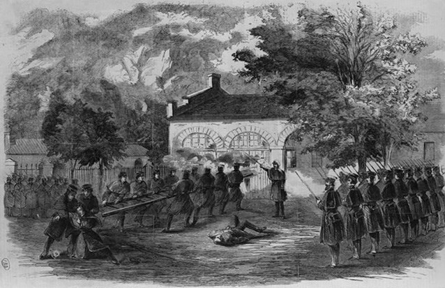 sketch of US Marines storming the fire engine house, from 1859