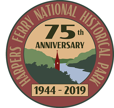logo starting Harpers Ferry National Historical Park, 75th anniversary, 1944-2019