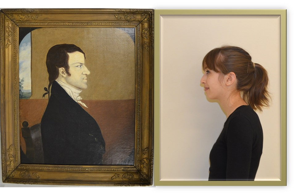 Portrait of John Wager Jr. and photo of Intern Caitlin