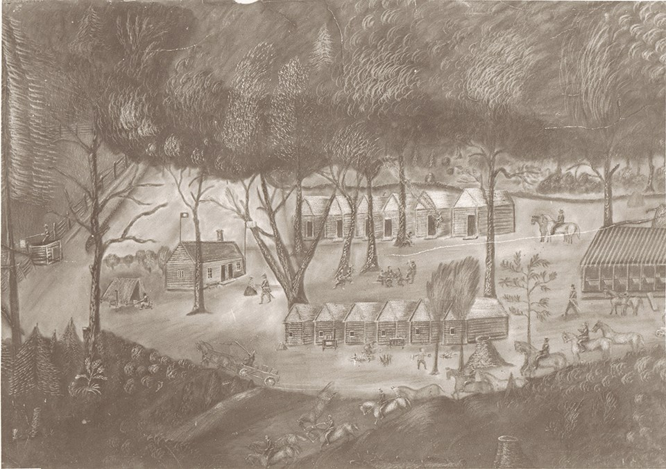 Charcoal drawing of signal corps detachment on Maryland Heights