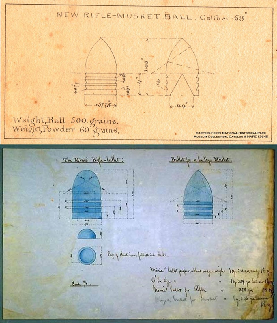 "Two drawings, one of the .58cal. Minie Ball, final 1855 design and one of the original French Minie Ball and ""a la tige"" conical bullet"