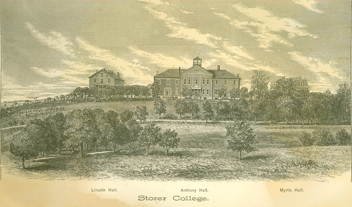 engraving of the Storer College landscape, including three buildings upon a ridge