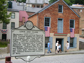 State historical marker in front of the Meriwether Lewis museum.
