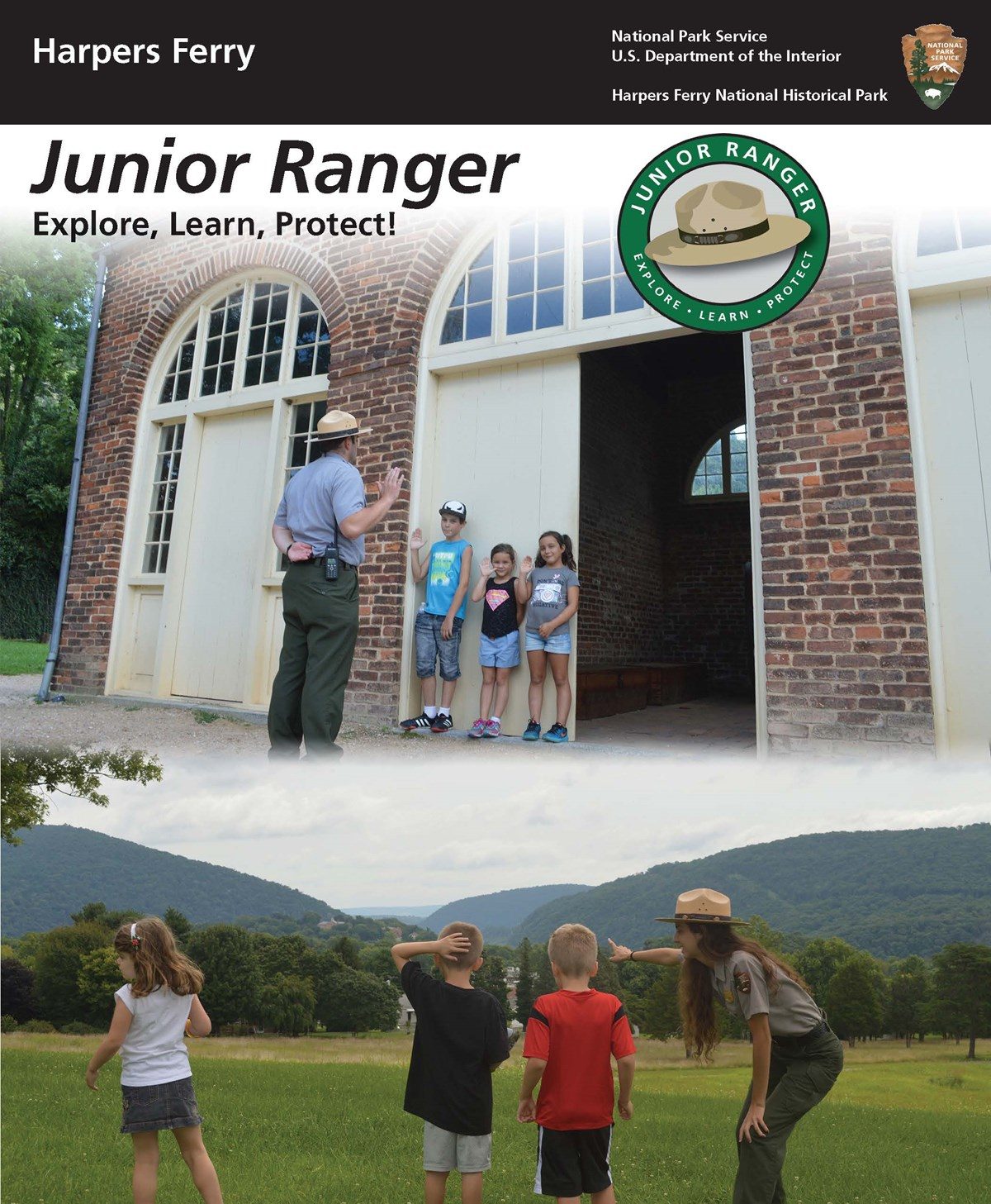Junior Ranger Booklet cover; shows image of park ranger swearing in Junior Rangers and image of park ranger pointing out scenery to kids