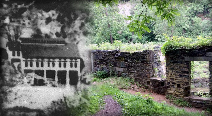 On left, black and white photo of Shenandoah Pulp Mill. On right, colorful photo with green shrubs growing in between the stone ruins of Shenandoah Pulp Mill with the top three floors missing and the foundation and first floor walls still remaining.