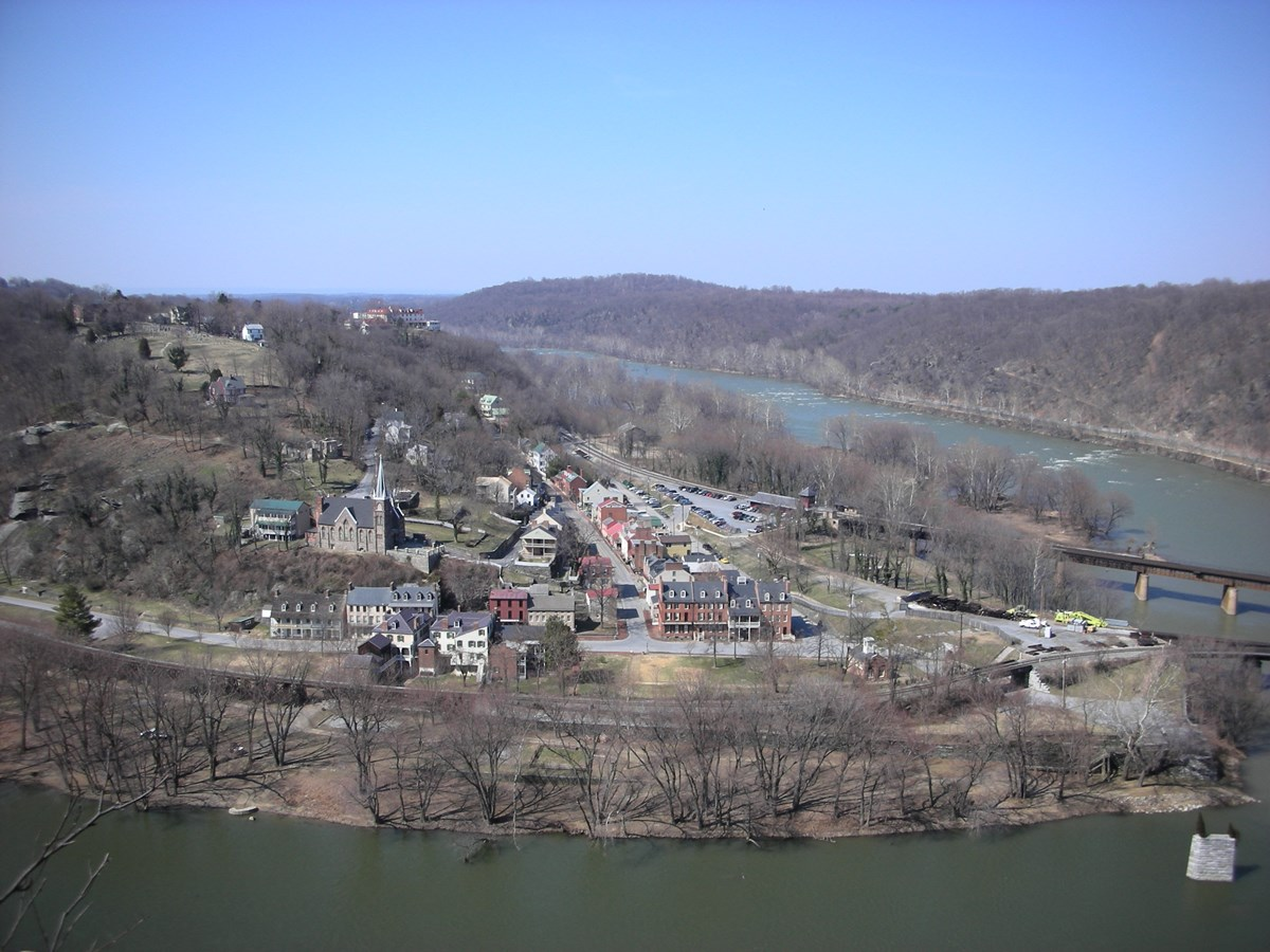 Comparative photo of the town of Harpers Ferry in 2008 taken from Loudoun Heights. Town from St. Peter's Roman Catholic Church to the Point is shown. The town is absent of an Armory.