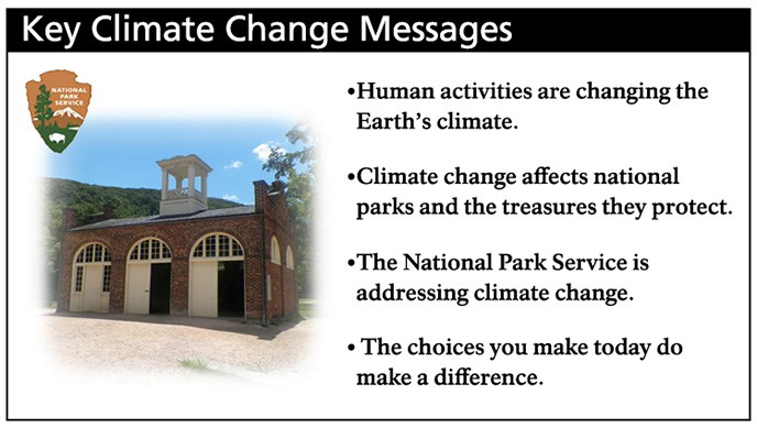 Key Climate Change Messages. Human activities are changing Earth's climate. Climate change affects national parks and the treasures they protect. The National Park Service is addressing climate change. The choices you make today do make a difference.