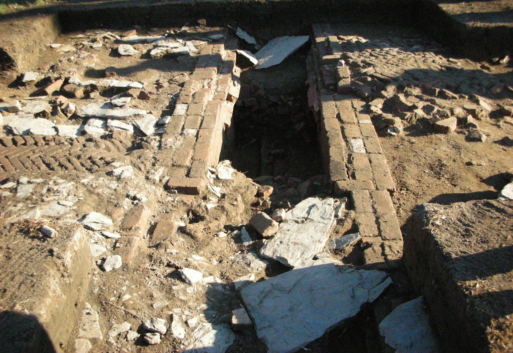bricks and stones unearthed by an archeology excavation