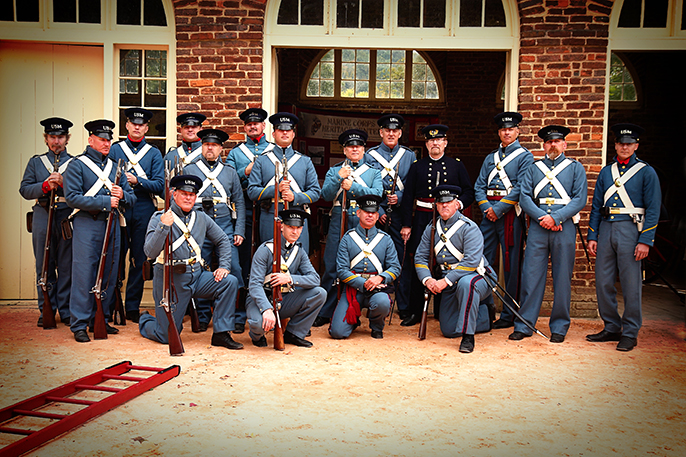 USMC Historical Company in front of the John Brown Fort