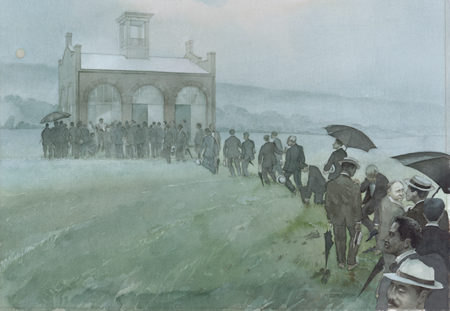 artistic rendition of the Niagara Movement men walking to John Brown's Fort