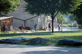 Bikers travel on Shenandoah Street.