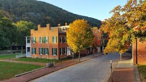 view of Shenandoah Street in the Fall season from the second floor of the John Brown Museum