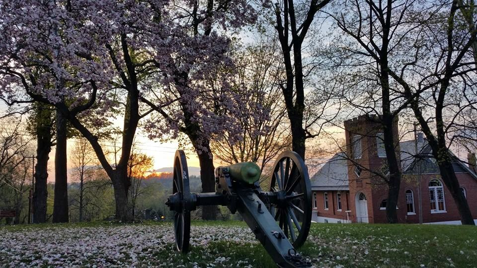 Cannon along Appalachian Trail and Camp Hill during sunset. Overlooking the old Shipley school.
