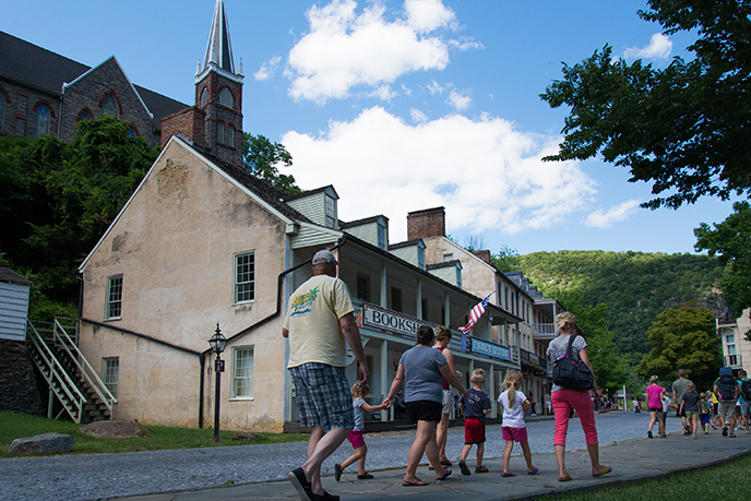 Visitors walking in Lower Town Harpers Ferry