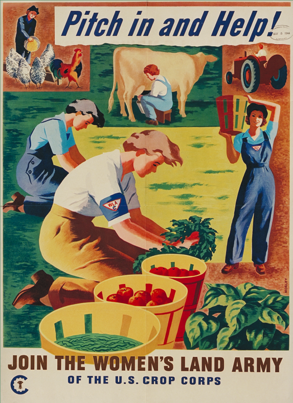 "Poster comprised of color drawings of women working in gardens or on farms; text on poster reads ""Pitch in and Help!"" and ""Join the Women's Land Army of the U.S. Crop Corps"""