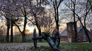 landscape showing flowering trees, an artillery piece, and a brick church; a sunset is in the distance