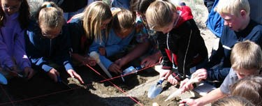 Students enjoy an educational program at the Fossil Beds.