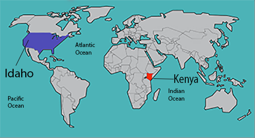 General map of the world with US and Kenya marked