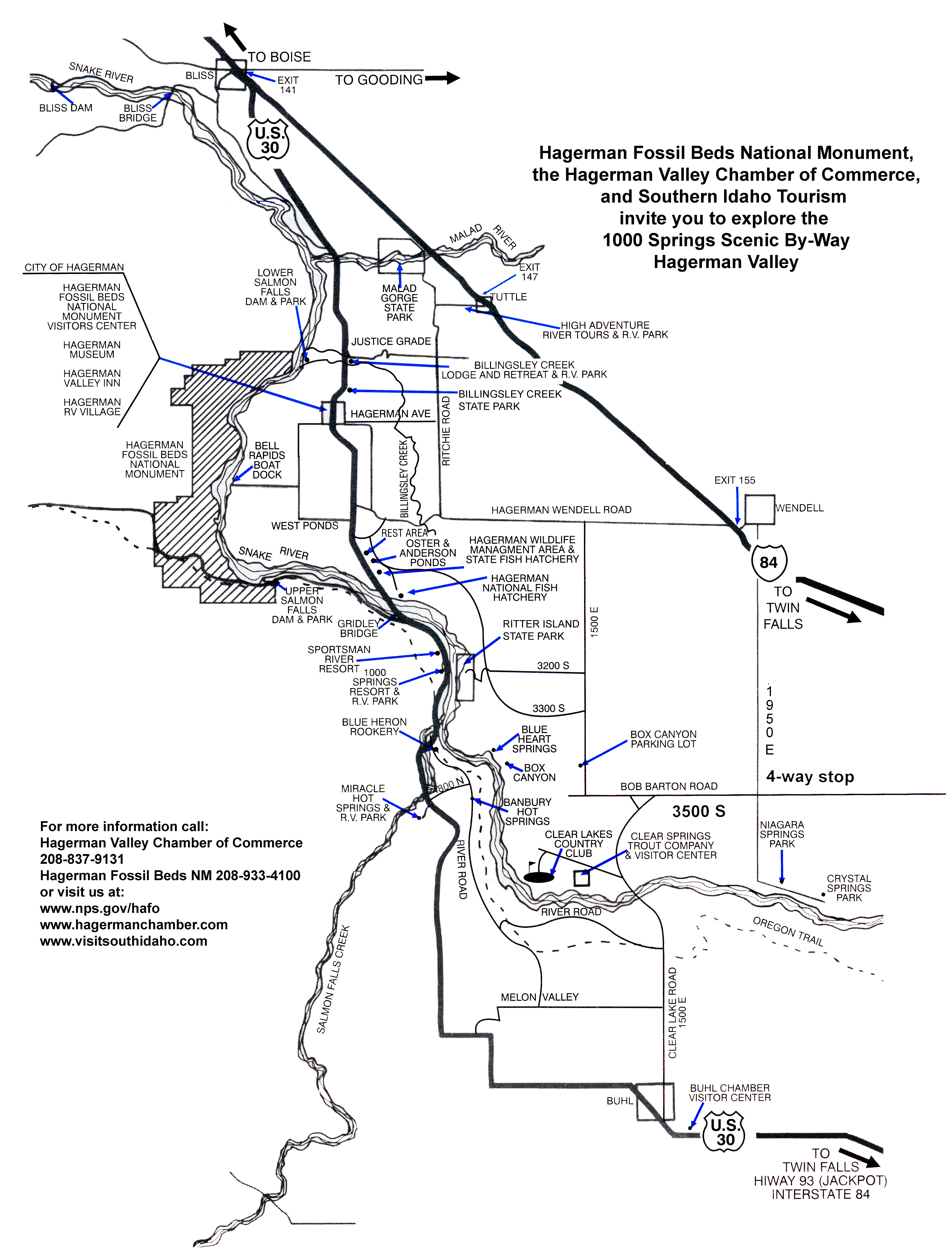 Hagerman Idaho Map.Maps Hagerman Fossil Beds National Monument U S National Park