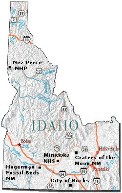 Map of Idaho with 5 National Parks marked.