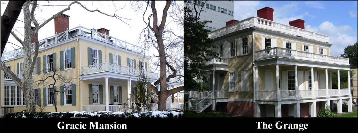 Images of Gracie Mansion and The Grange, side by side.