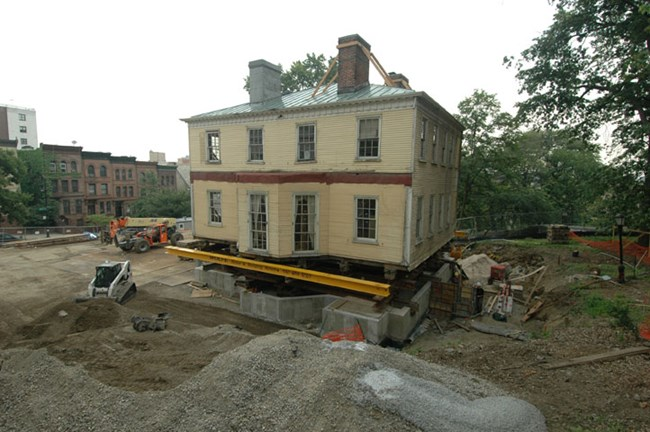 The Grange moves onto the new foundation at St. Nicholas Park on July 28, 2008.