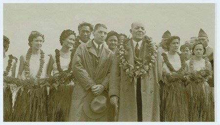 Opening ceremony for Haleakalā Road with Sheriff of Honolulu Duke Kahanamoku, Superintendent Edward Wingate and Secretary of the Territories Arthur Greene taken in February 23, 1935.