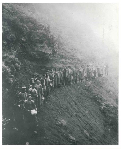 Civilian Conservation Corps (CCC) crew on Halemauʻu Trail working on the current alignment. Photo taken in 1936.