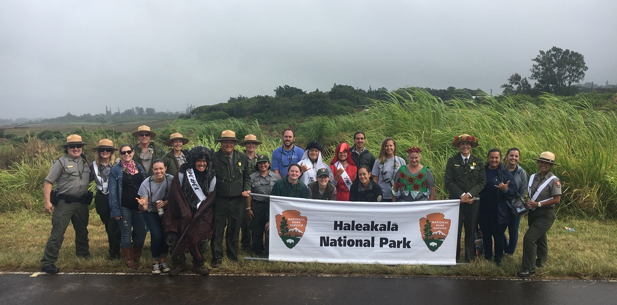 2018 Makawao Parade with NPS staff, volunteers, interns and partners