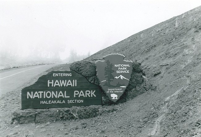 Entrance sign to the Haleakalā Section of Hawai'i National Park.