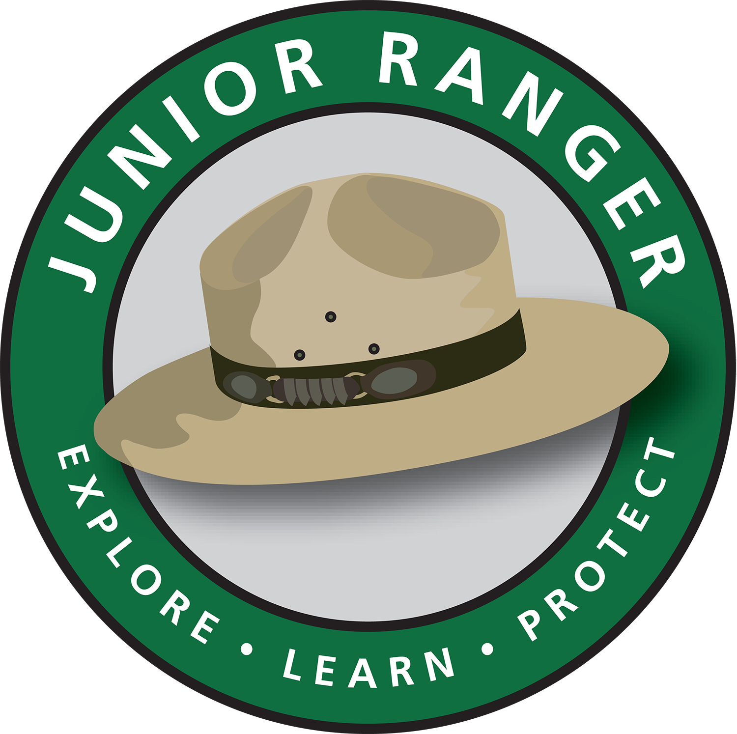 Logo in color with motto; learn, explore, protect