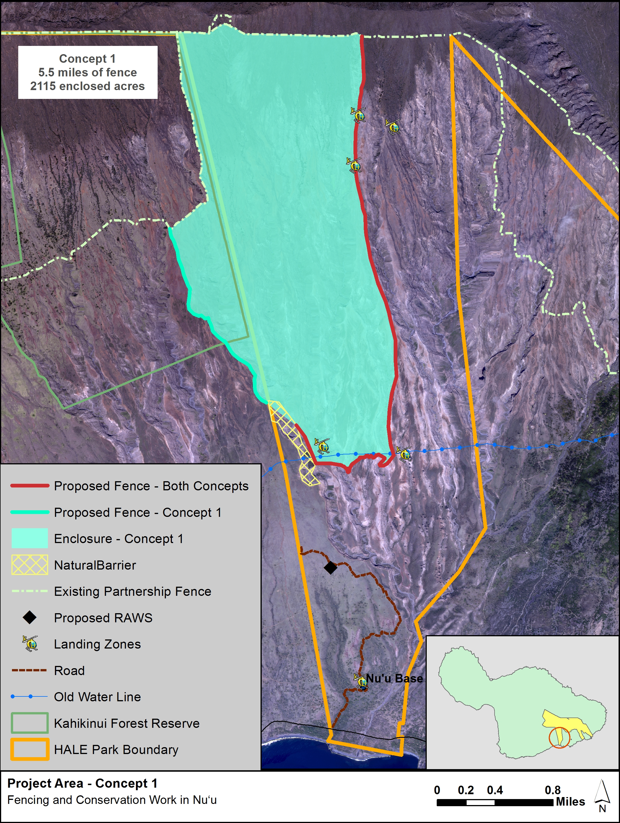 Map 1: One of two concepts of proposed fence location and conservation areas