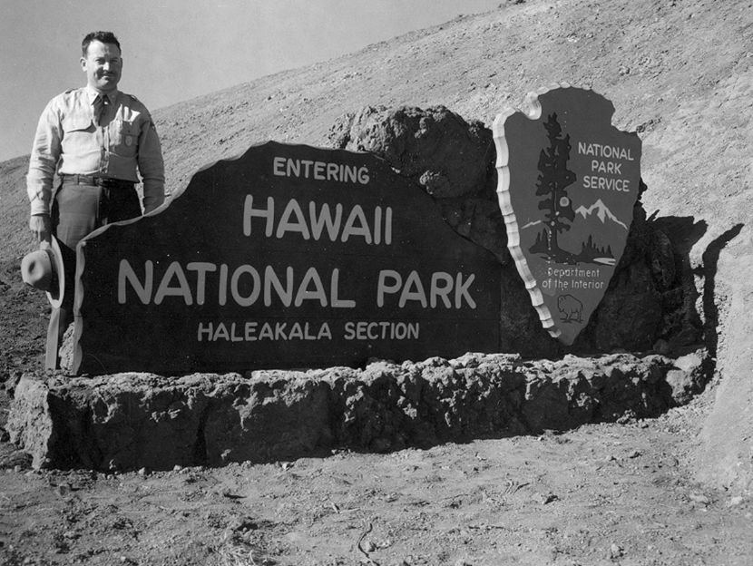 "1916 Haleakala NP Entrance sign. When first established as a national park on August 1, 1916, Haleakala NP was called ""Hawaii NP, Haleakala Section."""