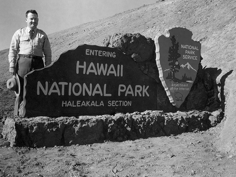 """Hawaii NP, Haleakala Section"" entrance sign, 1916."
