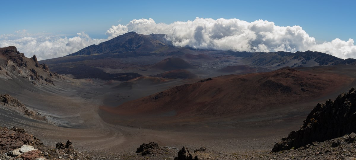 Panoramic of crater.