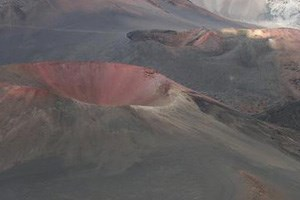Colorful cinder cones dominate the summit area landscape.