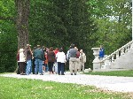 A Hampton volunteer takes visitors on a grounds tour.