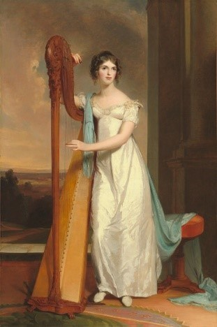 Painting of Eliza Eichelberger Ridgely with her harp.