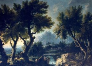 "The painting ""Landscape with Peasants"" attr. to Michele Pagano, c. 1725"