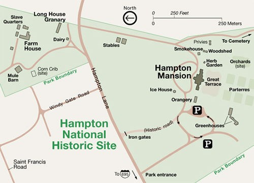 A map of Hampton National Historic Site