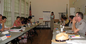 Park rangers, staff and park stakeholders participate in a planning meeting.