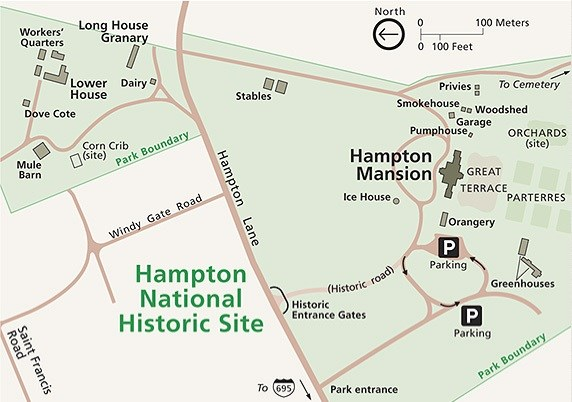Map of Hampton National Historic Site