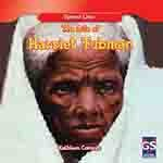 Book cover showing Harriet Tubman as older woman with red backdrop