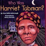 Book cover with caricature illustration of Tubman holding a lantern with houses in the background