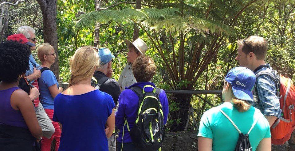 Volunteer Charlene With a group of Visitors at Nāhuku (Thurston Lava Tube)