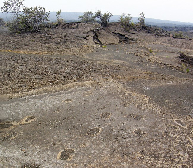 Dusty footprints in a lava landscape