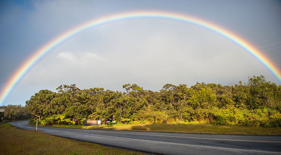 Rainbow near Hawai'i Volcanoes National Park entrance