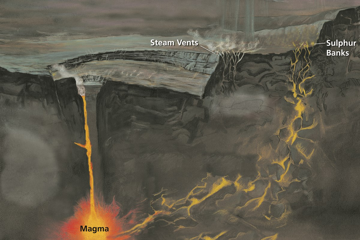 Illustration showing cracks in the crust of the earth and fumes rising