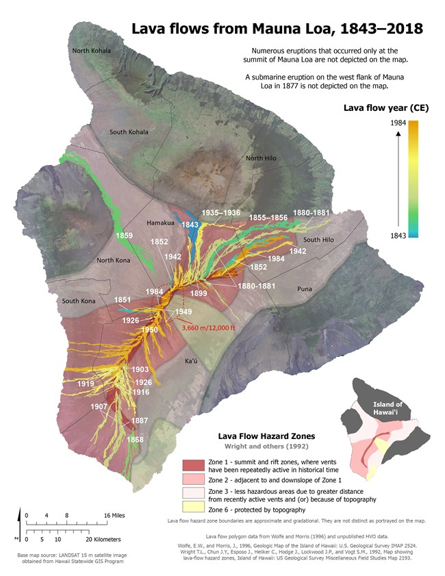 Map showing lava flows from Mauna Loa volcano, color coded by year