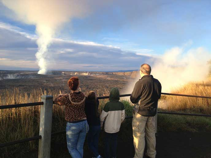 The Macfarlane family looking at Halema'uma'u